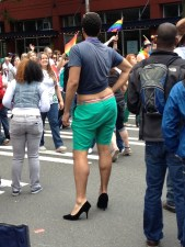 Not the shoes I would have chosen with that outfit...ended up being there during Gay Pride... it was a show!