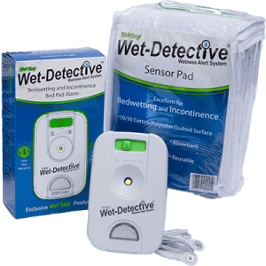 Wet-Detective bed pad alarm system - basic kit, with alarm, cord, and one sensor pad