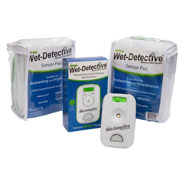 Wet-Detective bed pad alarm system - deluxe kit includes alarm, cord, and two sensor pads.