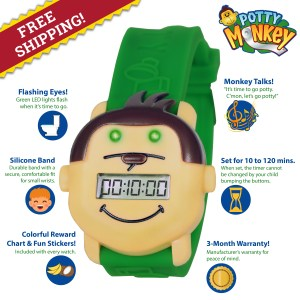 Potty Monkey Watch for potty training has many features: flashing eyes, silicone band, free reward chart and stickers, talking reminders, timer to set for 10 to 120 minutes; 90 day warranty against defects.