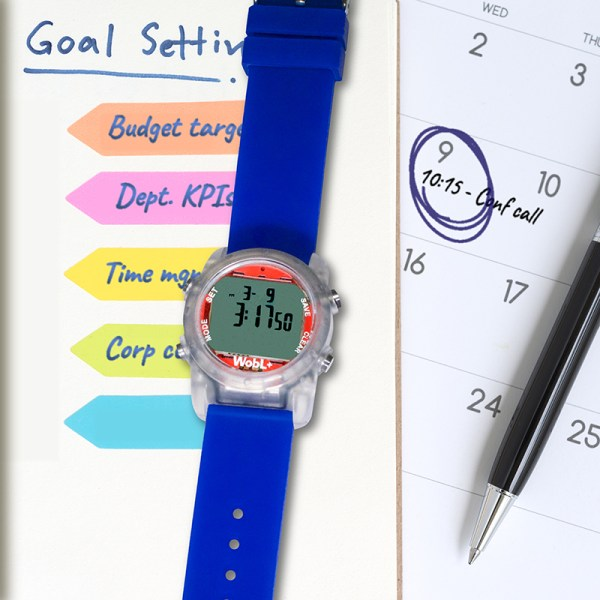 WobL+ watch with 9 alarms is perfect for meeting reminders, medicine reminders, potty training and more.
