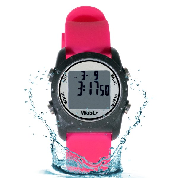 Pink waterproof WobL+ vibrating alarm watch with 9 alarms & repeating countdown timer for potty training, medication, and meeting reminders.