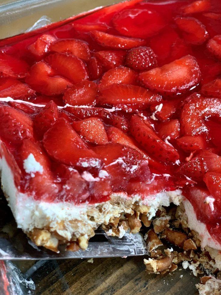 Lightened Up Strawberry Pretzel Cheesecake Dessert