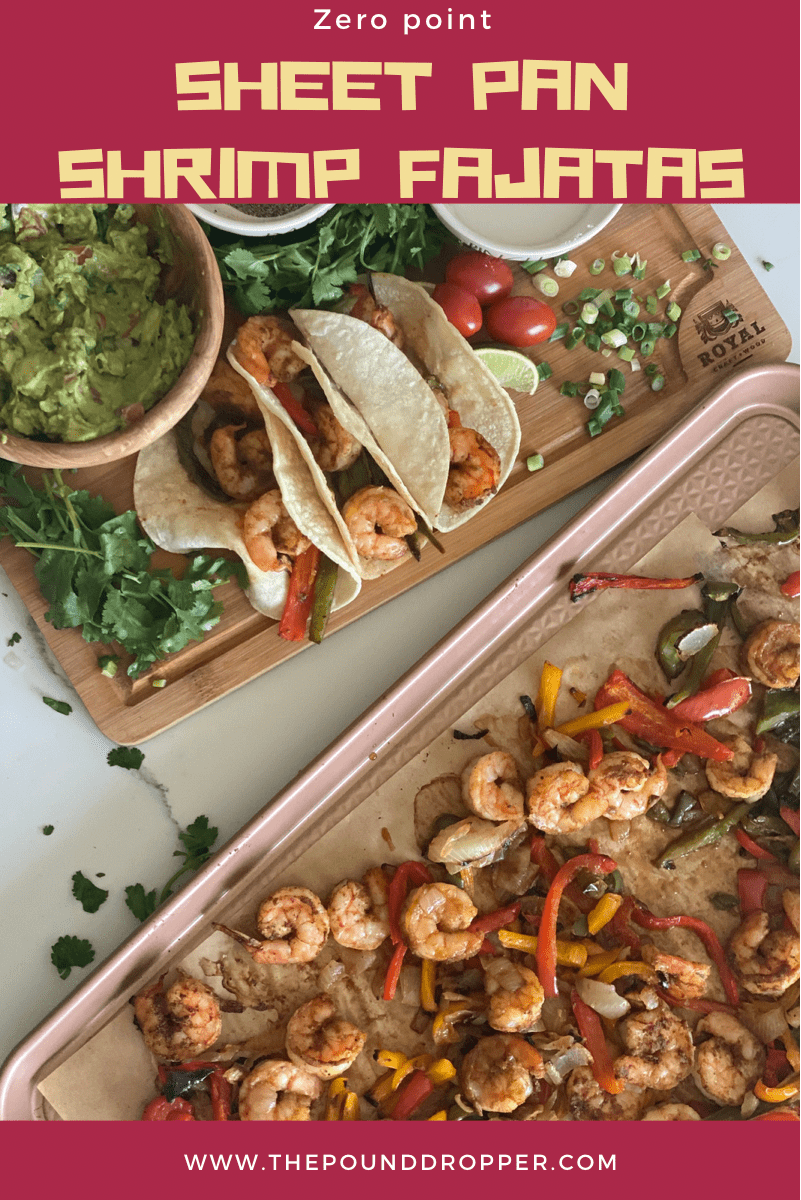 These Zero Point Sheet Pan Shrimp Fajitas make for a quick and easy dinner-perfect for those busy weekday nights! via @pounddropper