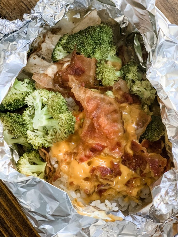 Cheesy Broccoli Chicken and Rice in Foil Packets