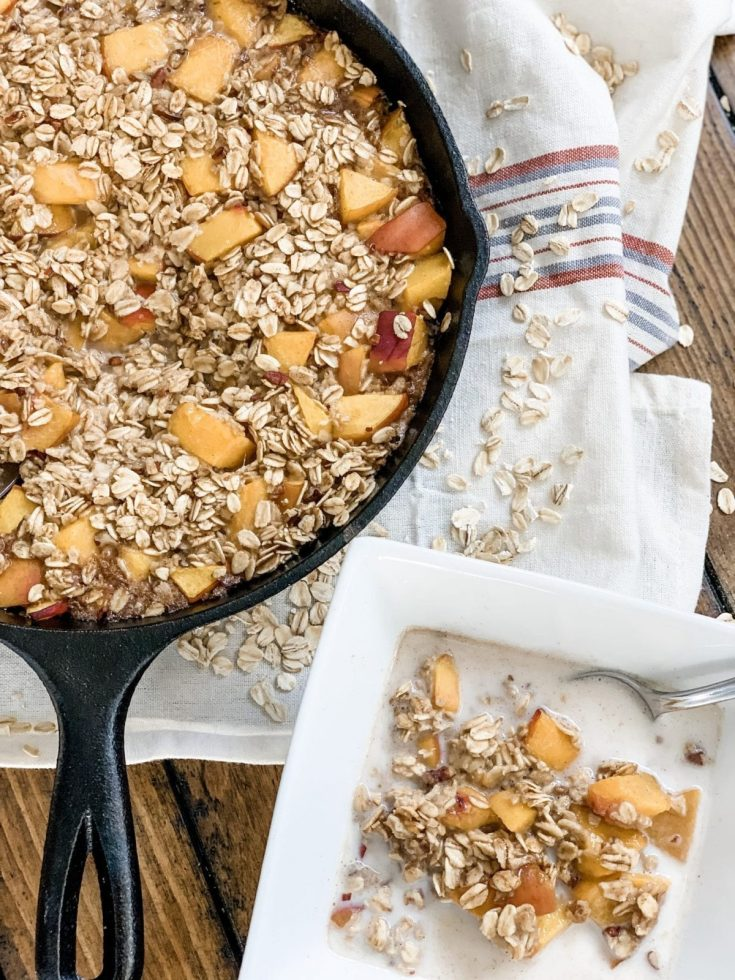 Easy Peaches and Cream Baked Oatmeal