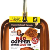 Red Copper Cookware 12-Inch Square Pan