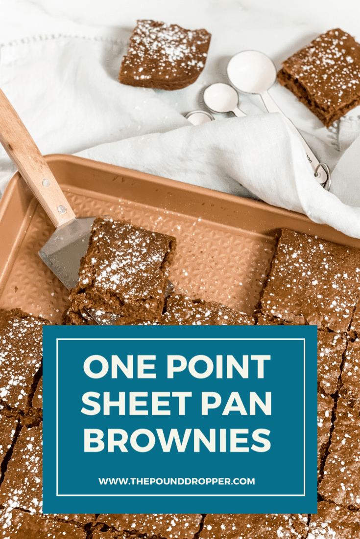 This One Point Sheet Pan Brownie is everything you'd want in homemade BUT lower in points than classic homemade brownies! The best part is that they can be ready in less than 30 minutes. They are the PERFECT chocolatey treat! via @pounddropper