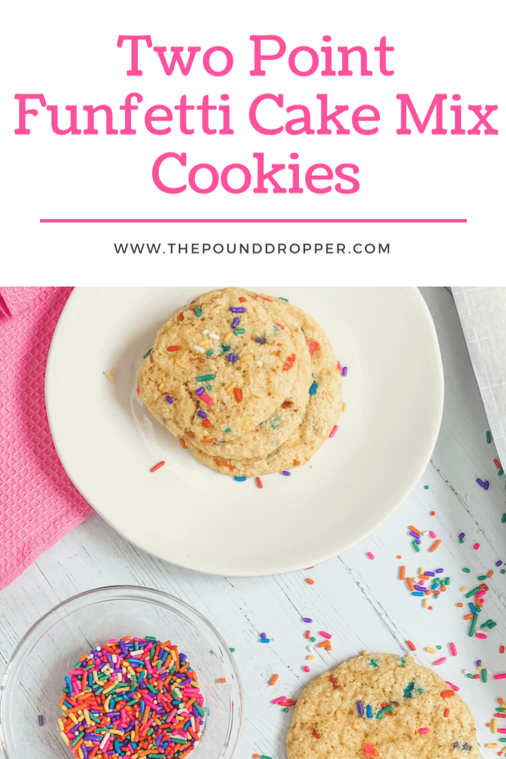 These Two Point Funfetti Cake Mix Cookies are made with only 4 ingredients! They are simple to make, fun to look at, and yummy to EAT! via @pounddropper