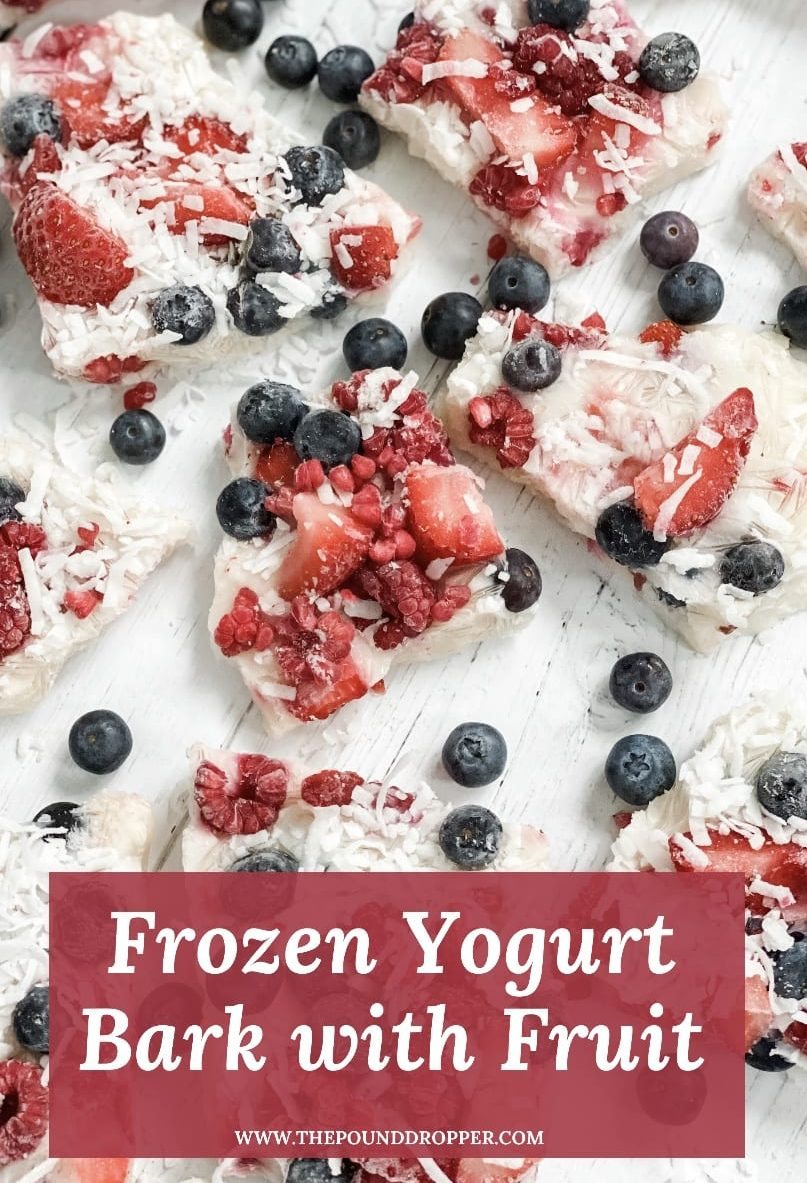 This Frozen Yogurt Bark with Fruit is simple to make and so refreshing! Made with non fat creamy plain or Greek yogurt, Lakanto monk fruit sweetener, vanilla, and fresh fruit. This makes for the perfect summertime snack or treat! via @pounddropper