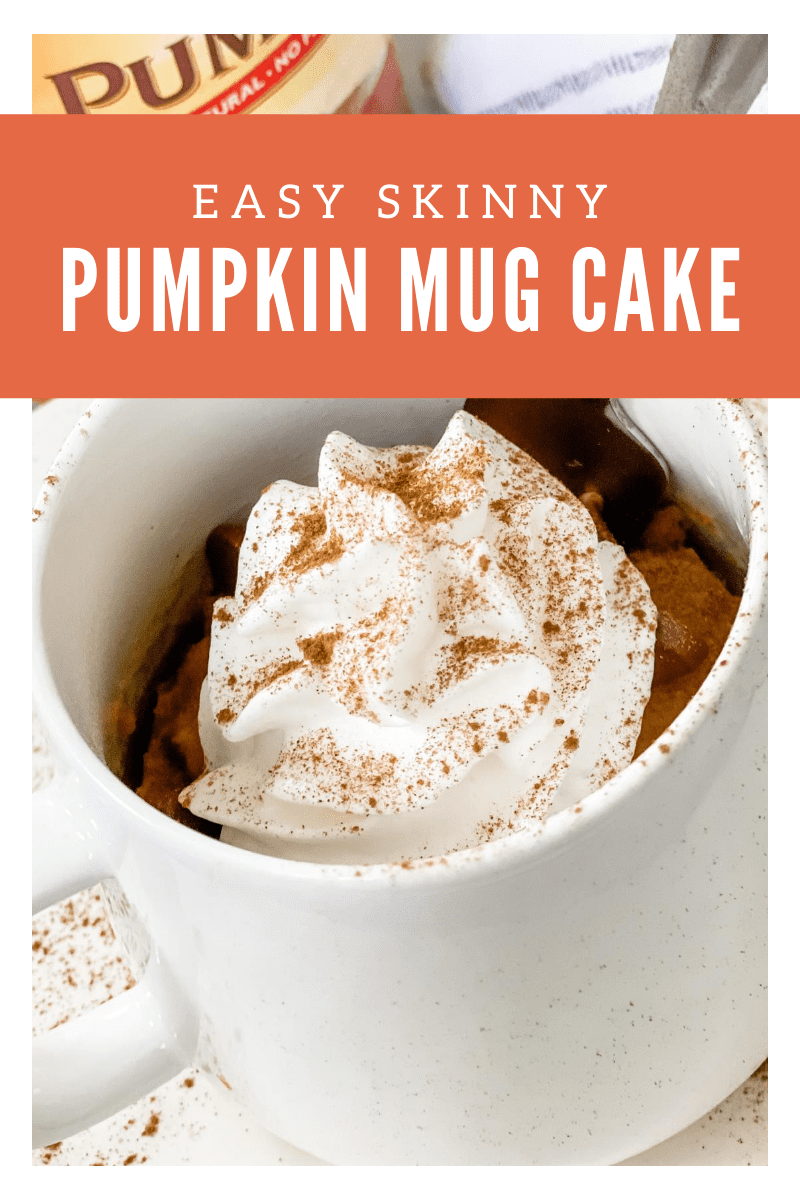 This easy Skinny Pumpkin Mug Cake can be made within minutes-served as a simple serving and tastes amazing with use a scoop of light vanilla ice cream & sugar free chocolate chips!  via @pounddropper