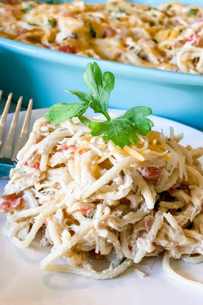 Lightened Up Creamy Chicken Spaghetti Casserole