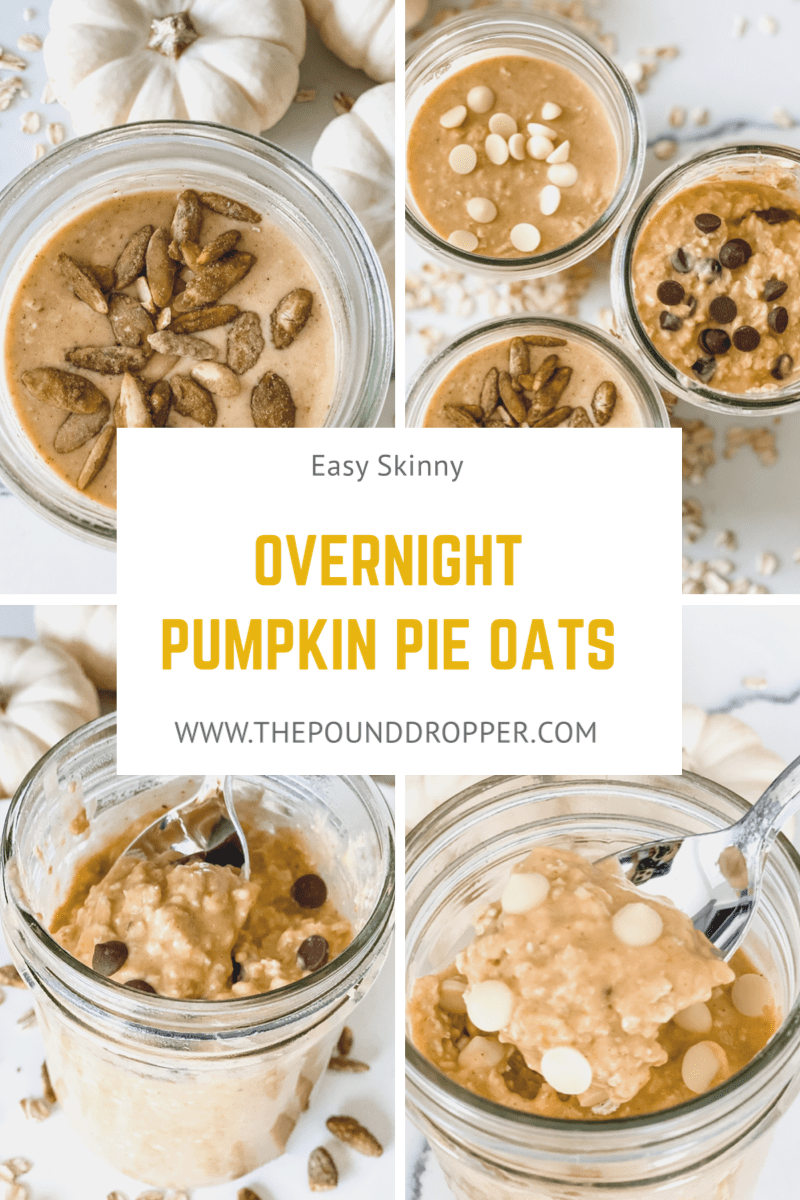 These Easy Skinny Overnight Pumpkin Pie Oats make for the perfect meal prep! Just spendjust a few minutes in the evening preparing your oats, and you'll have a quick and easy, filling breakfast in the morning! via @pounddropper