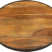 Round Serving Tray, Solid Wood with Metal Band