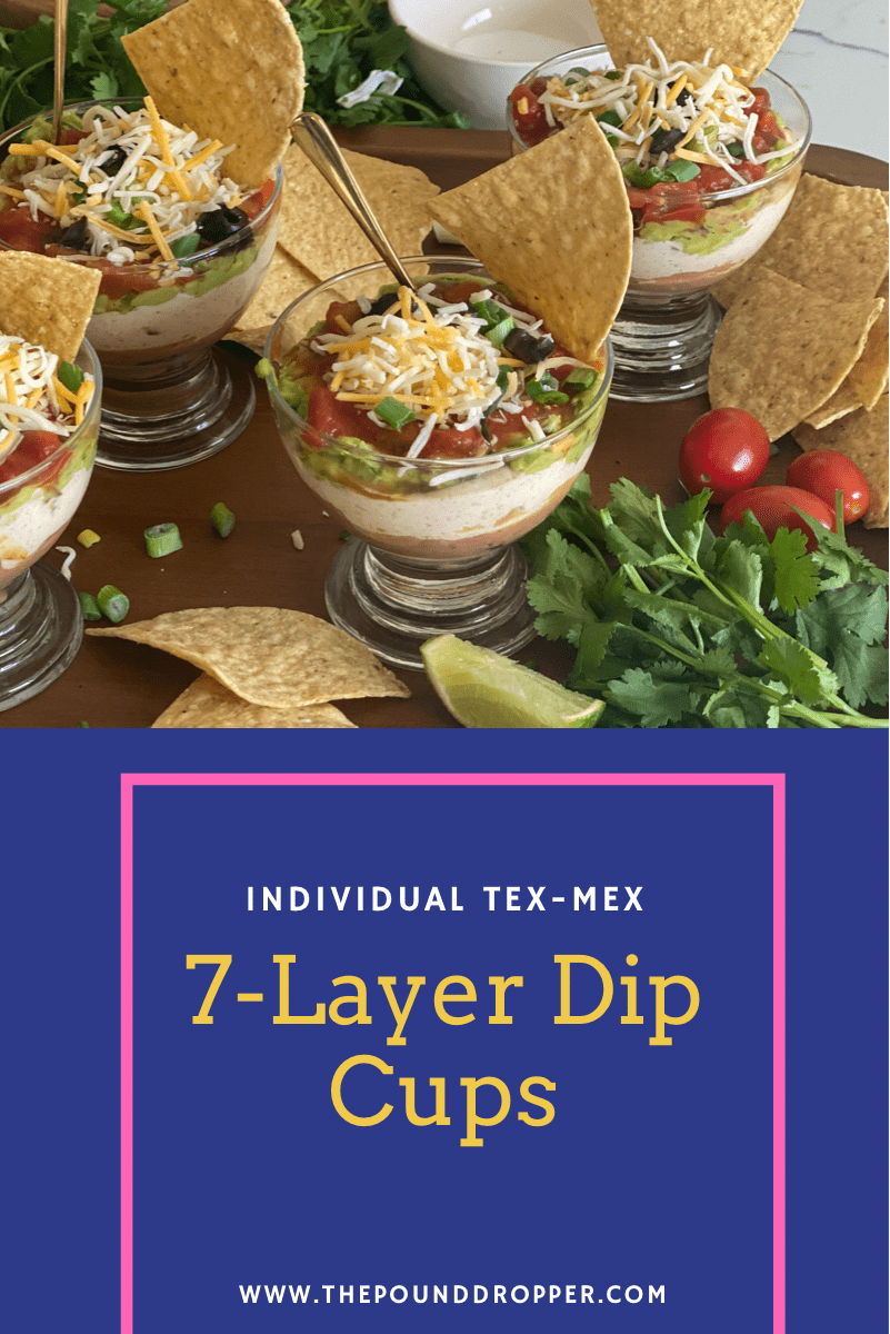 These Individual Tex-Mex 7-Layer Dip Cups are individually portioned-perfect for parties, meal prep lunches, or even as a snack! via @pounddropper
