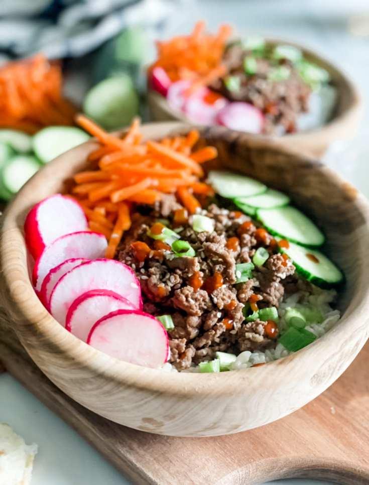 Lightened Up Korean Ground Beef Bowls