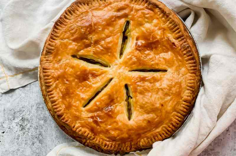 Samosa Pot Pie with Puff Pastry Top