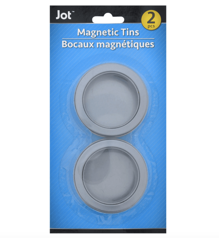 a two-pack of Jot magnetic tins with clear plastic lids