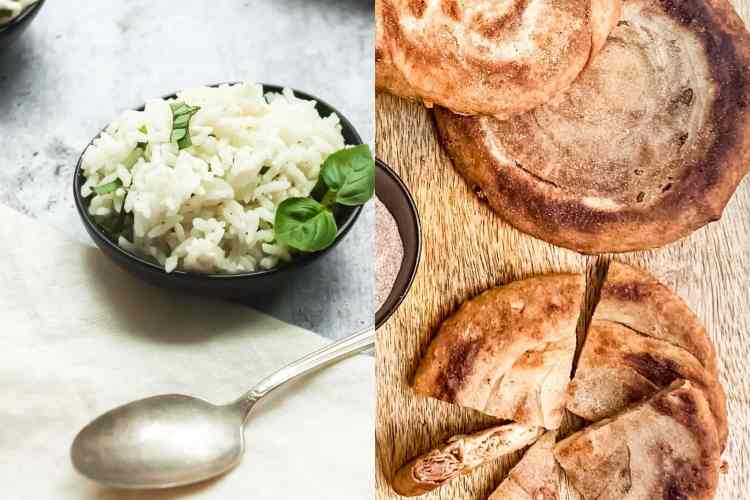 a split image with a small bowl of lemon basil feta rice on the left and flaky brown butter cinnamon sugar pancakes on the right