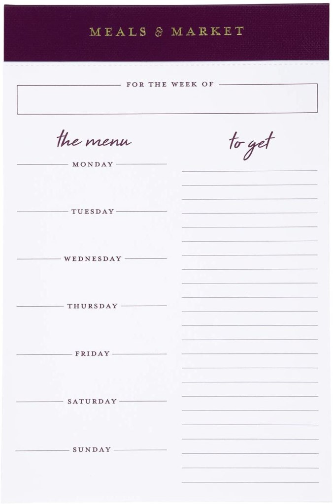 elegant formal meal planning pad and grocery list