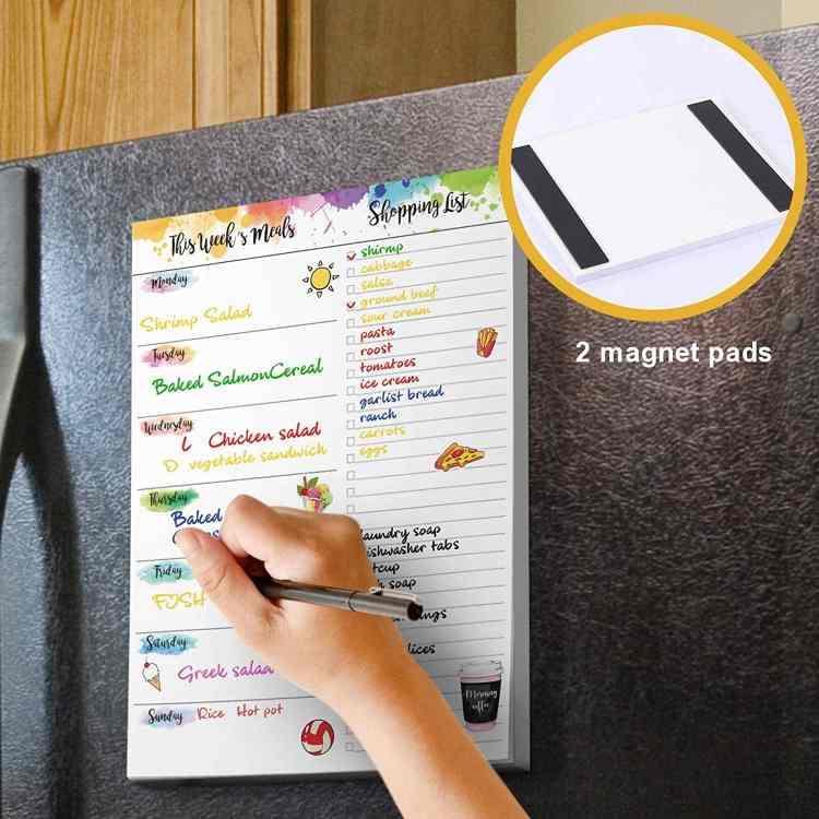 rainbow watercolor weekly meal planning pad