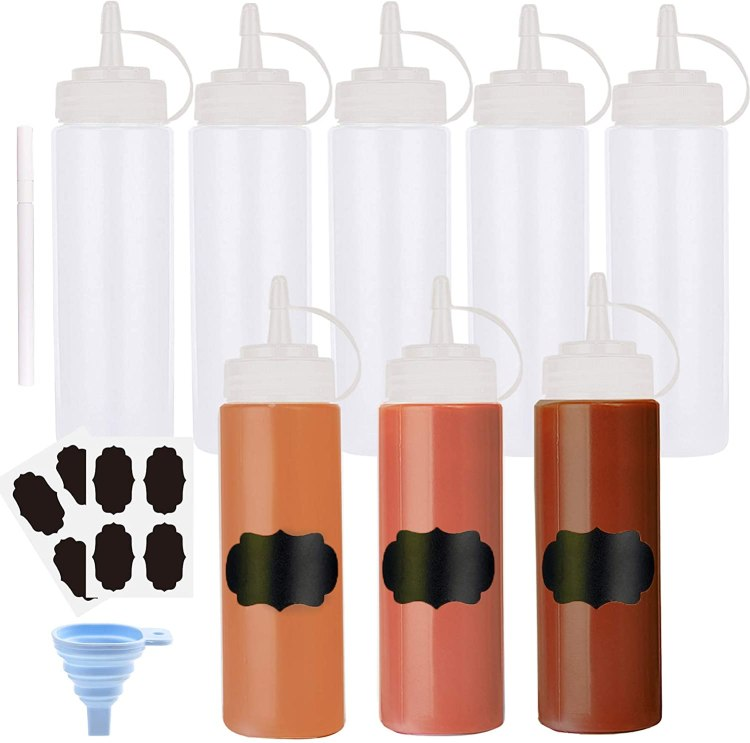 plastic squeeze bottles with chalkboard labels and a funnel