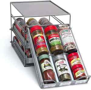 a pull down spice rack