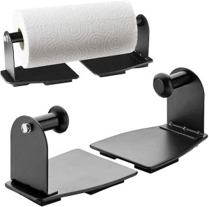 two black metal pieces with right angle hooks sticking off the front of them. the hooks slide into the tube of a paper towel roll.