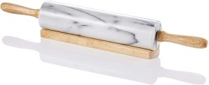 straight marble rolling pin with wooden handles