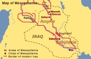 "The Sumerians occupied the southeastern region of Mesopotamia, meaning, ""land between the rivers,"" Tigris and the Euphrates."
