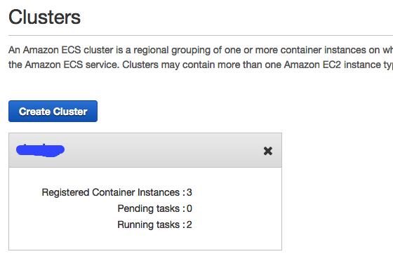 ECS cluster menu