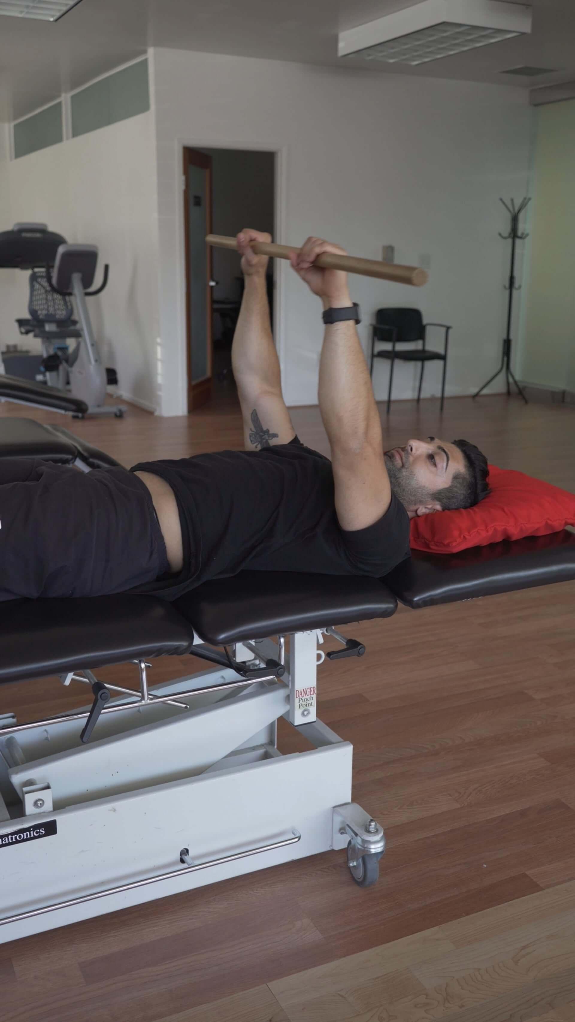 Supine Shoulder Flexion - PROM, Dowel   [𝗣]𝗥𝗲𝗵𝗮𝗯