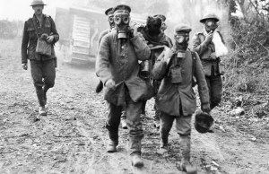 German prisoners wear gas masks in Ypres, France in an April, 1915 file photo.