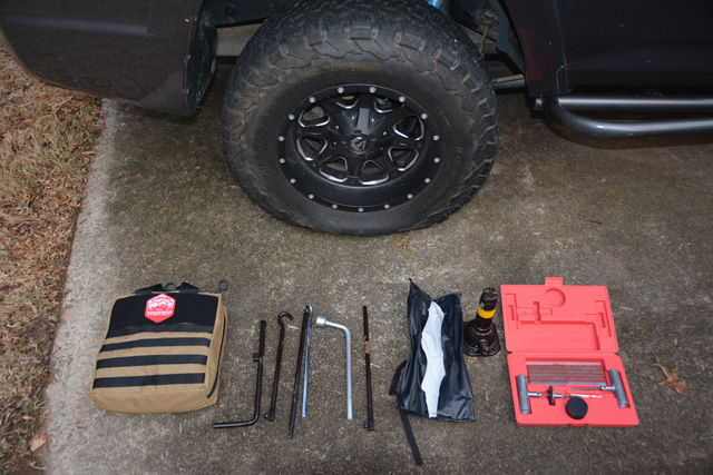 Having a tire plug kit in your bug out vehicle could save you in an emergency.