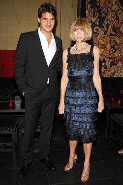 Anna Wintour & Roger Federer at Men\'s Vogue Dinner