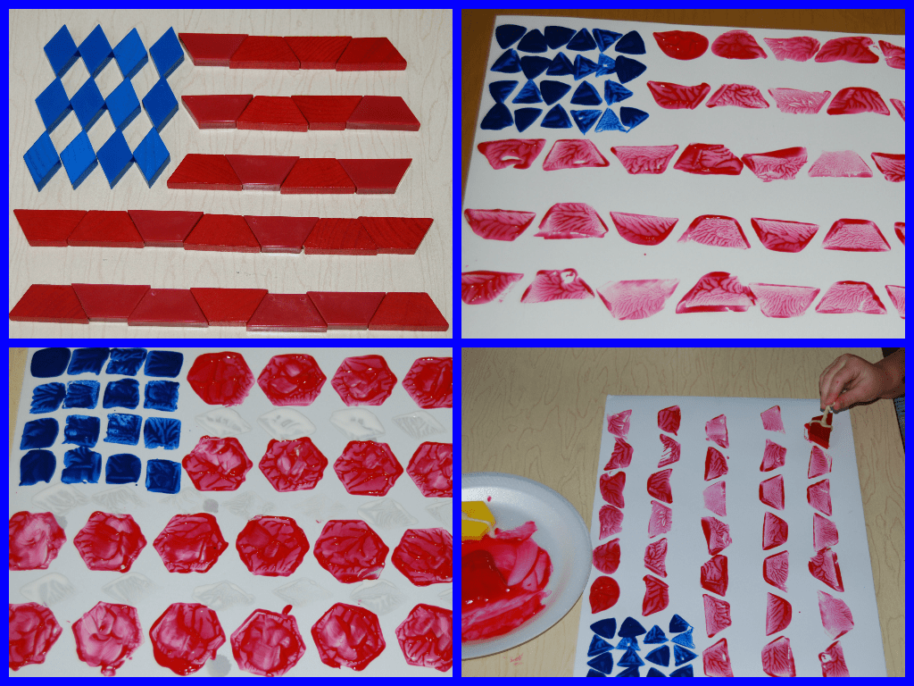 Easy Patriotic Pattern Block Painted Flag Craft