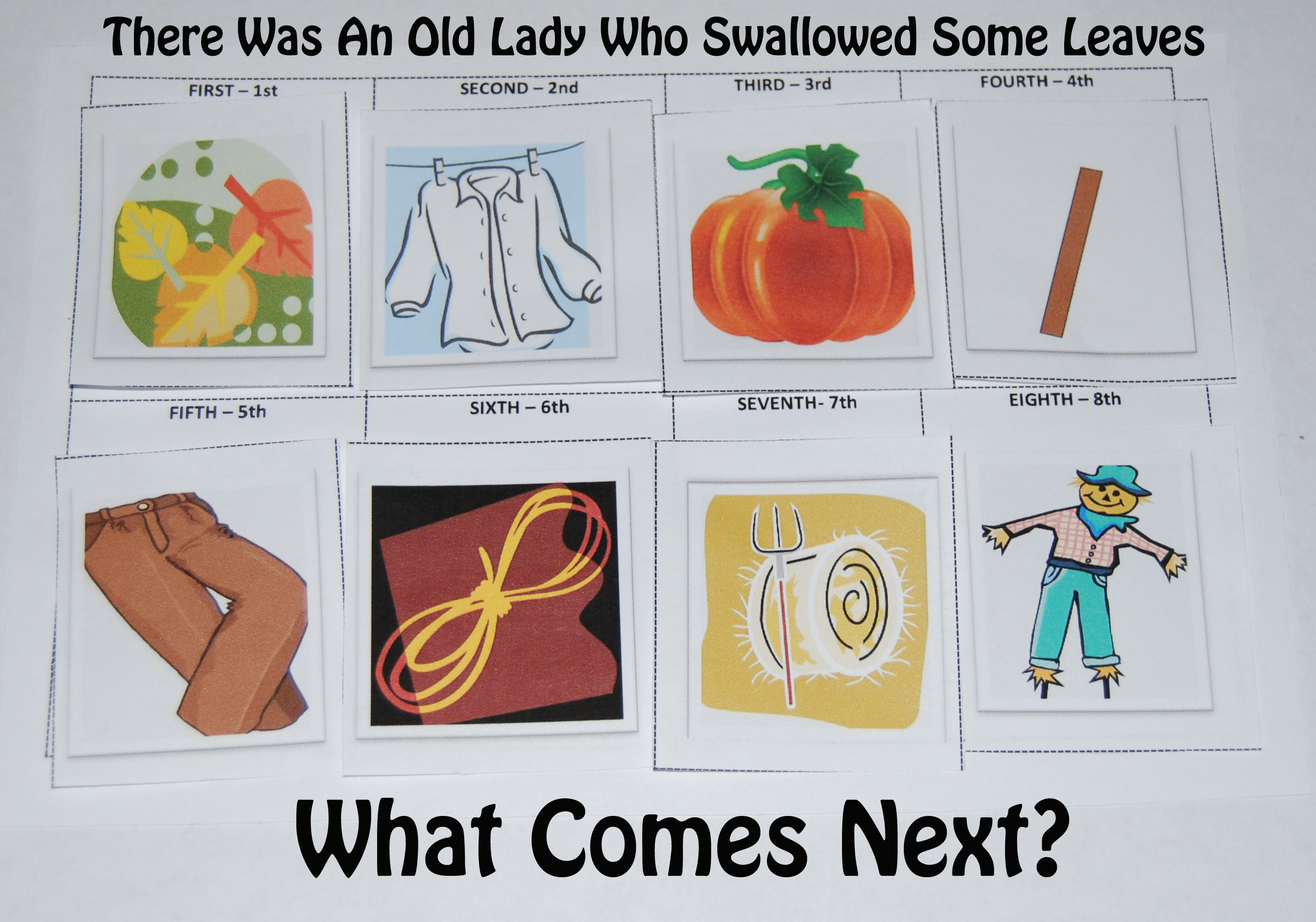 There Was An Old Lady Who Swallowed Some Leaves Story Cards The Preschool Toolbox Blog