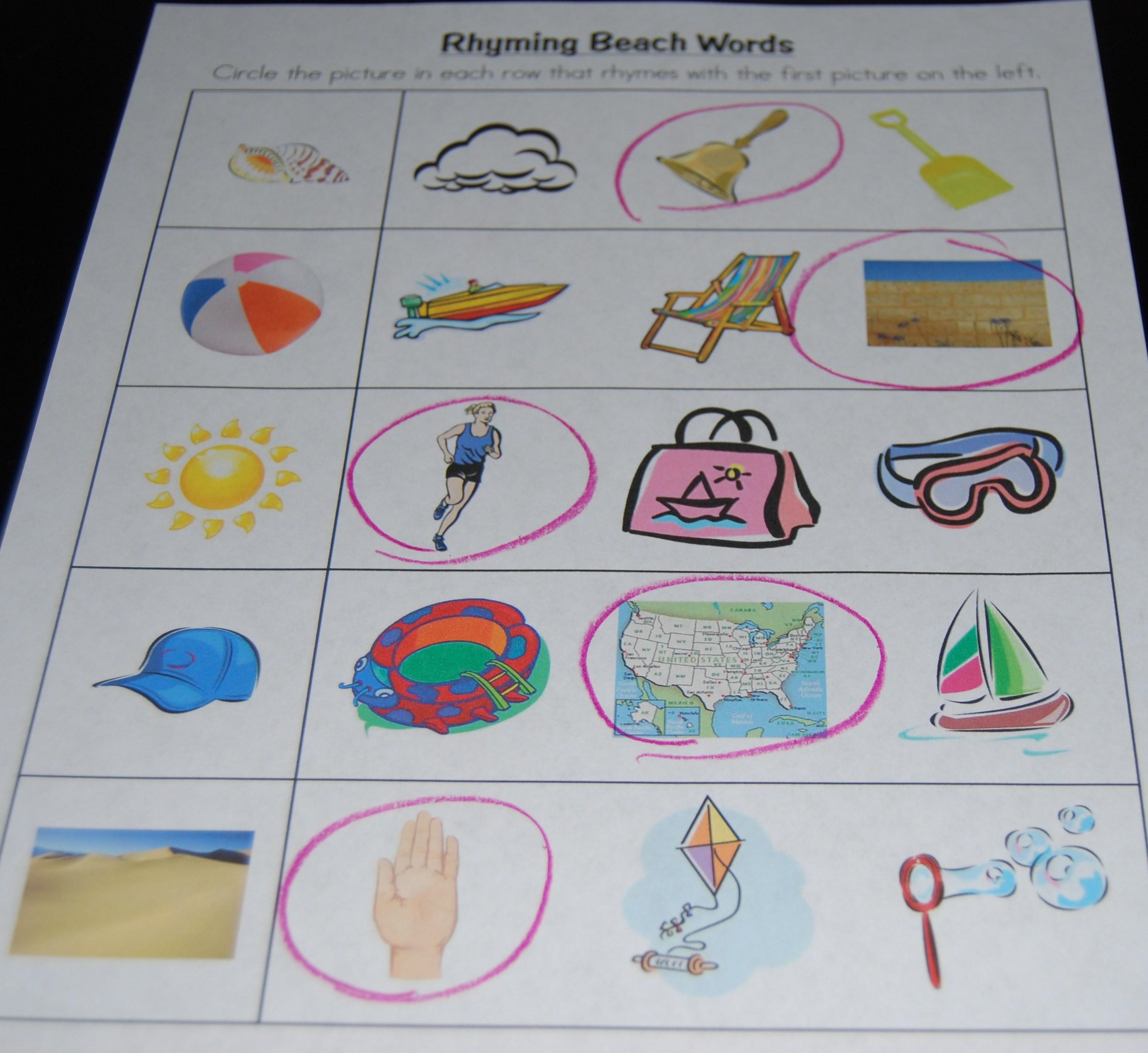 Beach Rhyming Words The Preschool Toolbox Blog