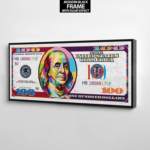 $100 white bill canvas wall art the presidential hustle frame