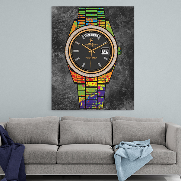 Rollie hustle 247 in colour wall art hustle2
