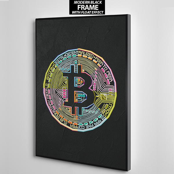 bitcoin logo canvas wall art frame
