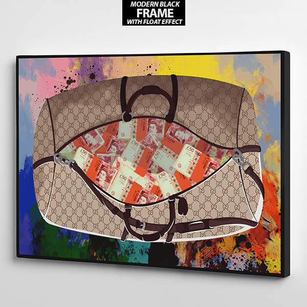 get the bag gucci and pounds sterling canvas wall art the presidential hustle frame