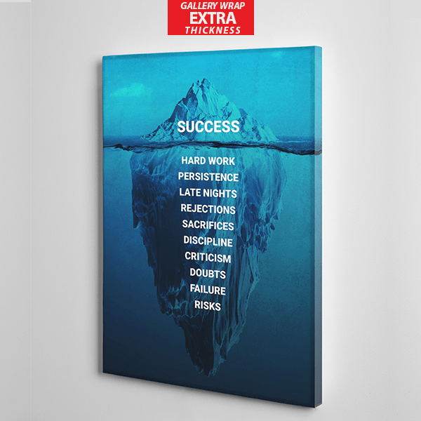 iceberg success canvas wall art the presidential hustle BLUE