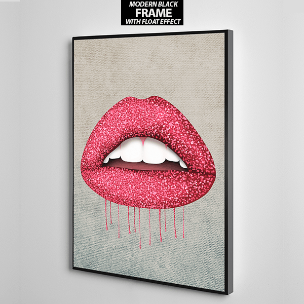 red lips with glitter canvas wall art the presidential hustle frame