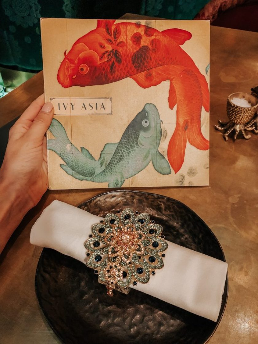Ivy Asia Menu and napkin ring