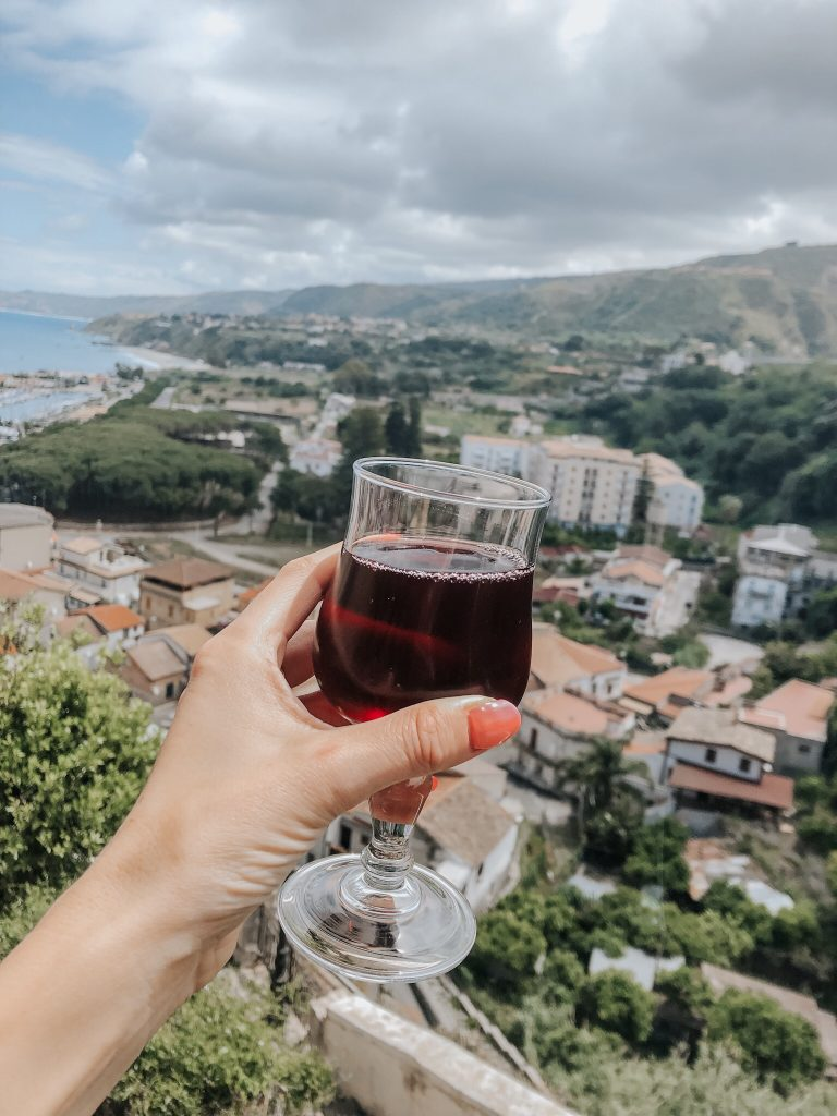 Red wine with a view