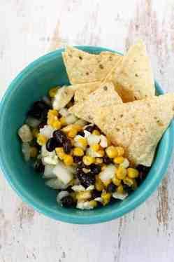 Black bean, corn, and feta dip