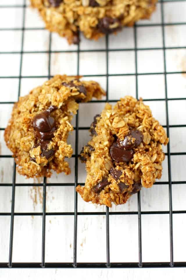 These soft and chewy healthy oatmeal chocolate chip cookies are full of flavor and texture