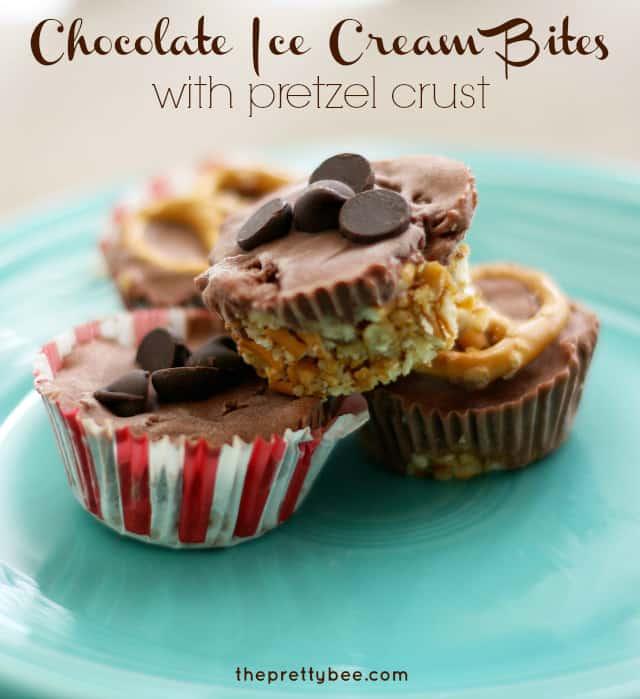 Vegan chocolate ice cream bites with pretzel crust