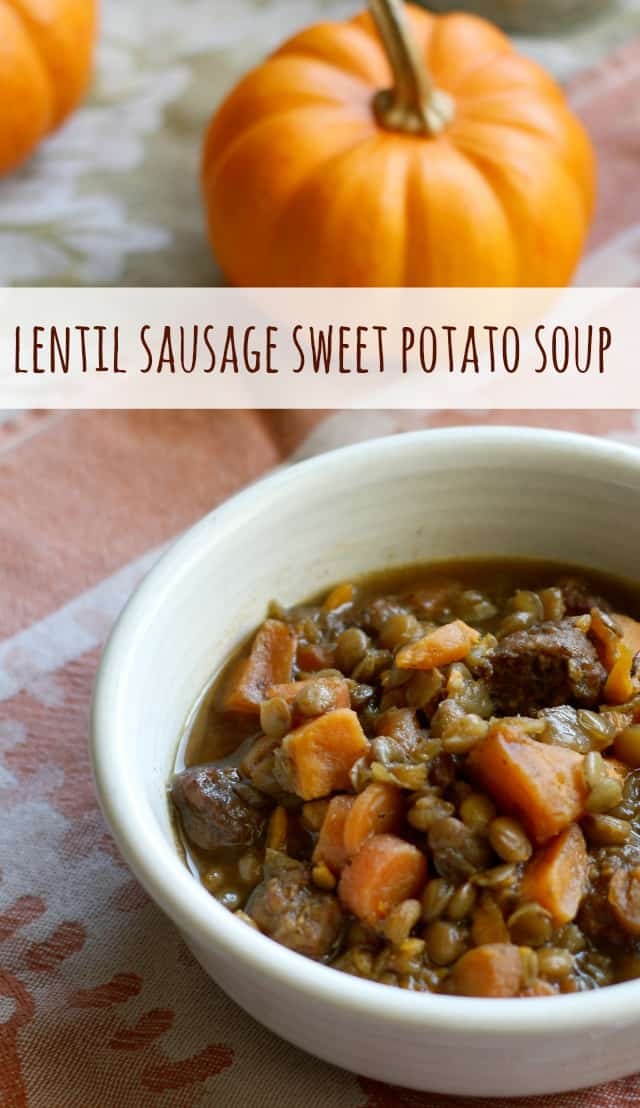 A comforting and tasty fall soup made with lentils, sweet potatoes, and sausage.